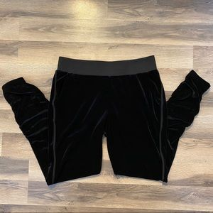 Juicy Couture Black Velour Rouched Joggers